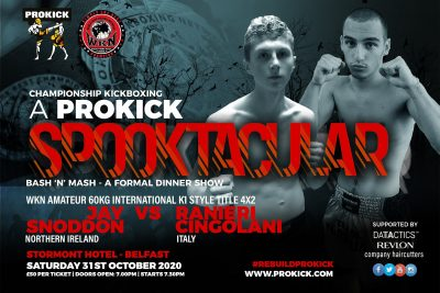 Be prepared for fireworks this Halloween when Italian, Ranieri Cingolani will be in Belfast to face homeboy Jay Snoddon when both battle to be declared WKN Amateur International K1 Champion at 60kg.
