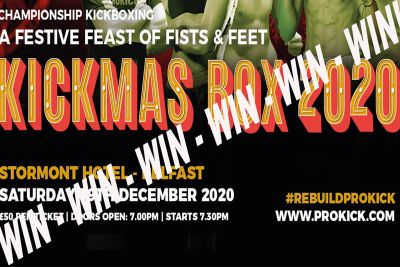 Win two Tickets For KICKmas plus a hotel night for two people with full breakfast and all for just a £5er.  All your kind donations are in aid of the #RebuildProKick fund.