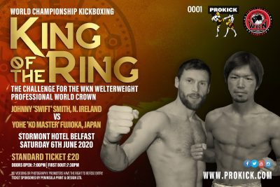 King of the Ring? Or King of the KO? The WKN Welterweight title is up for grabs! Johnny Swift Smith will face Yohe Fujioka, from Fukuoka city, Japan