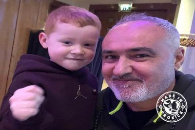 WKN Boss Mr Cabrera to return to Belfast to support Billy Murray's event on the 12th September. Pictured here with one of Murray's grandson's Leo Smith - the next generation of budding kickboxers.