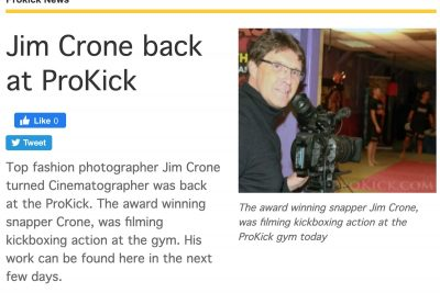 Jim Crone, Director, will be back at the ProKick kickboxing gym, tomorrow Wednesday 28th July.