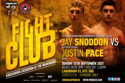 ProKick's young Samurai Jay-san will challenge, Maltese Justin Pace for the 60kg WKN International belt on September 12th 2021 at Fight-Club at the Warehouse #KnockdownLockdown in Laburnum St Belfast.