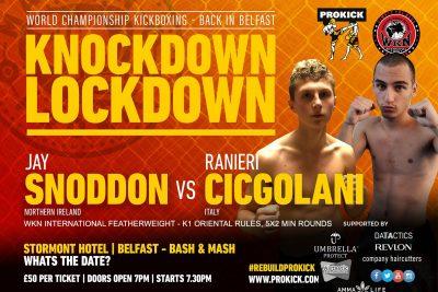 ProKick's young Samurai Jay-san will challenge, Italian Ranieri Cingolani for the 60kg WKN International belt on September 12th 2021 at #KnockdownLockdown in the Stormont Hotel in Belfast.