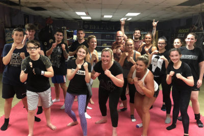 Pictured here are the new squad of high kicking kickboxing beginners who all started at the ProKick Gym on Monday July 9th at 8:15pm.