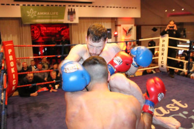 This image is from the Stormont Hotel 23rd Feb 2019. #SwiftSmith showed why he is a professional contender for a title in the very near future as he notched up his eighth straight win as a Pro after defeating Christos Venizelou of Cyprus.
