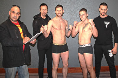 Top of the bill #JohnnySwiftSmith from Bangor and his opponent Periklis Filippou of (Cyprus) came in exactly the same weight 69.8kg