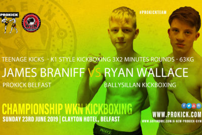 The James Braniff Vs Ryan Wallace match is made at 63kg and will be fought over 3x2min rounds under K1 style rules.