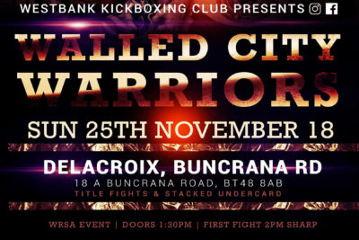 ProKick Gym will travel this Sunday 25th November to - The Delacroix in Derry / Country Londonderry