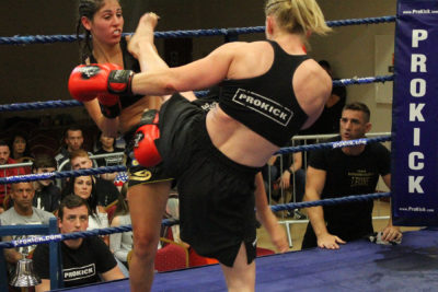 Action from Cathy McAleer who is Kicking out Vs Beatrice Marcialis (Cagliari Kickboxing, Sardinia)