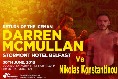 Darren Mc Mullan will face Nikolas Konstantinou of Cyprus at the Stormont hotel