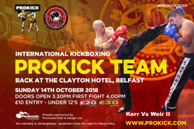 Matthew Kerr Vs Shane Weir II - is now for the Celtic nations Championship at the Clayton Hotel in Belfast. All set for 14th October 2018