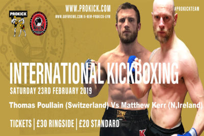 #StormontHotel in Belfast THIS SATURDAY 23rd FEB. Come support Matthew Kerr when he faces Swiss hard man Thomas Poullain for an International Full-Contact kickboxing match.