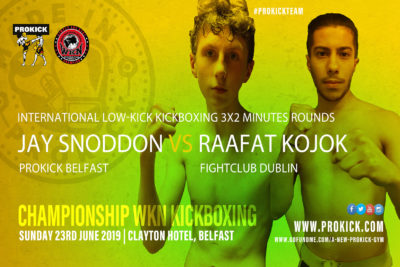 Jay Snoddon (Dundonald, ProKick) will face Syrian born Raafat Kojok who now fights out of (FightClub, Dublin) on June 23rd at the Clayton hotel in Belfast