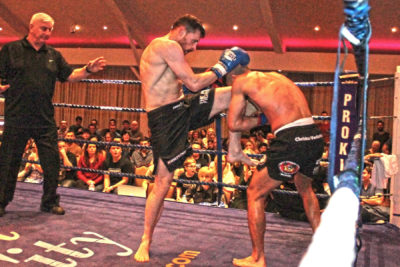 Want to be a ProKick fighter then speak to your coach! (Pictured here) Knee kick by #SwiftSmith to Venizelou (Cyprus) At the Stormont Hotel Saturday 23rd Feb 2019