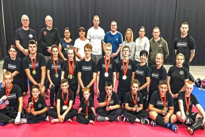 Prokick Team after the event, This was the inaugural WKN British amateur Open which took place Saturday 3rd August 2019. The event was  promoted by Mr Albert Ross & team at the Fraserburgh Fitness Centre