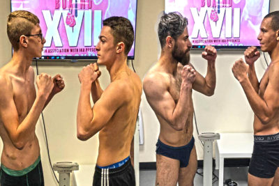 'Strictly Business XVII' event weigh-ins results as follows: Piggott 56.4kg and Snoddon 56.4kg. Get ready for fireworks! Williams Vs Ekhtiyari - This match was made at 65kg, Williams came in at 64.6kg with Ekhtiyari just 100grams over at 65.1kg.​