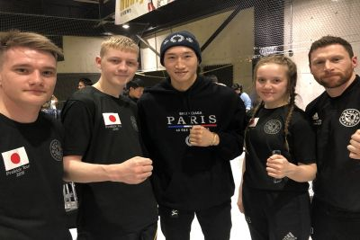 Pictured here some of the ProKick team with - Anpo Rukiya the Super Light-weight K-1 champion. James Braniff beat one for Anpo Rukiya's  team-mates in the final of the Western K-1 amateur championships in Osaka.