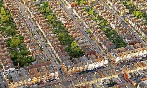 Aerial view of London neighbourhood