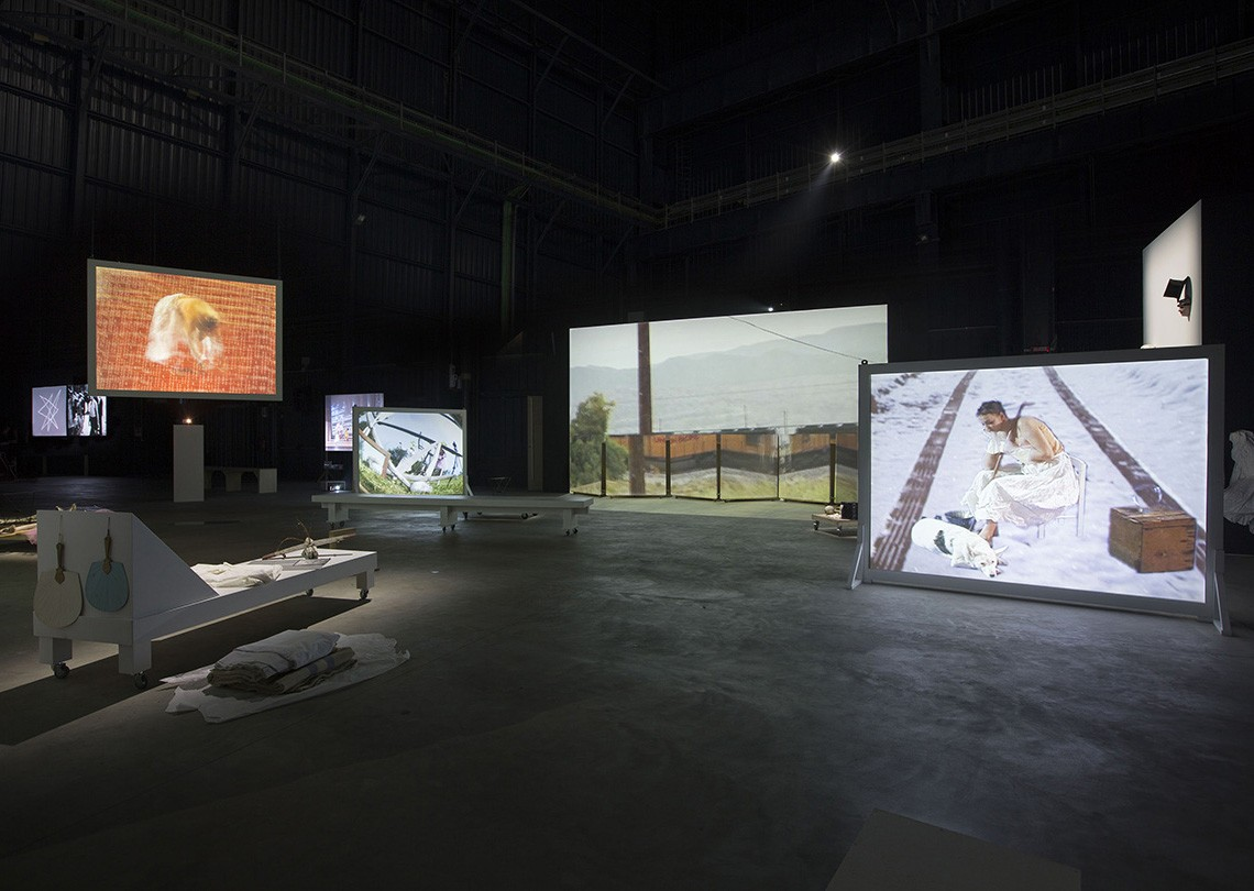 Joan Jonas Light Time Tales, 2014 Installation views Fondazione HangarBicocca, Milan Photo by Agostino Osio Courtesy Fondazione HangarBicocca, Milan