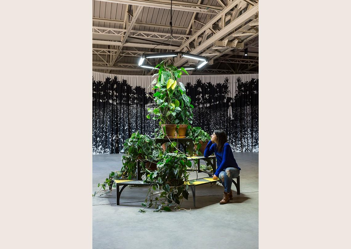 Céline Condorelli À Bras Le Corps – with Philodendron (to Amalia Pica), 2014 Courtesy l'artista, Fondazione HangarBicocca, Milano Foto Agostino Osio