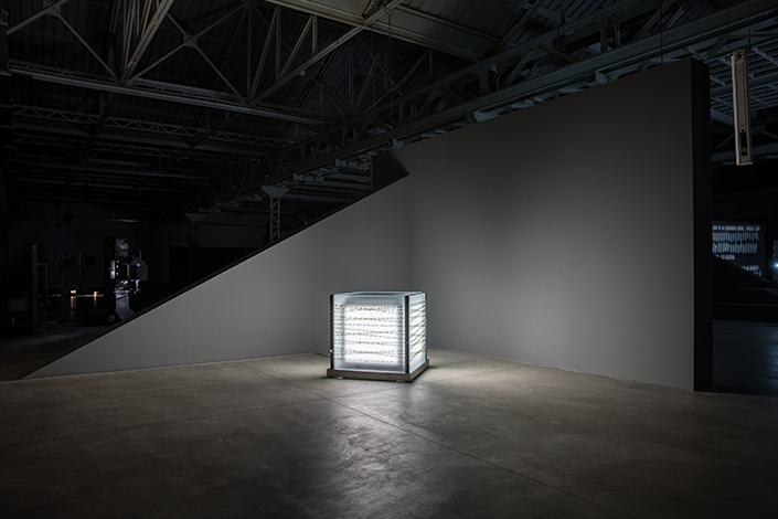 Rosa Barba, A Shark Well Governed, 2017; installation view at Pirelli HangarBicocca, Milan, 2017. Courtesy of the artist; Vistamare di Benedetta Spalletti, Pescara and Pirelli HangarBicocca, Milan. Photo: Agostino Osio