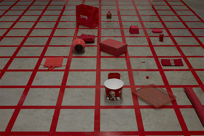 Alison Knowles, Homage to Each Red Thing, 1996, installation view at Pirelli HangarBicocca, Milan, 2017. Courtesy Alison Knowles, James Fuentes, New York, and Pirelli HangarBicocca, Milan. Photo: Agostino Osio