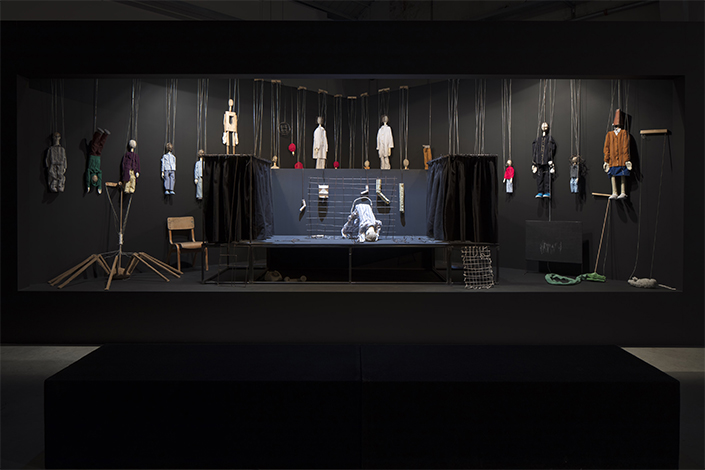 Eva Kot'átková Cutting the Puppeteer's Strings with Paper Teeth (Brief History of Daydreaming and String Control), 2016, installation view at Pirelli HangarBicocca, Milan, 2018. Kunstmuseum Krefeld, Collection of the Freunde der Kunstmuseen Krefeld e.V Courtesy of the artist and Pirelli HangarBicocca, Milan. Photo: Agostino Osio