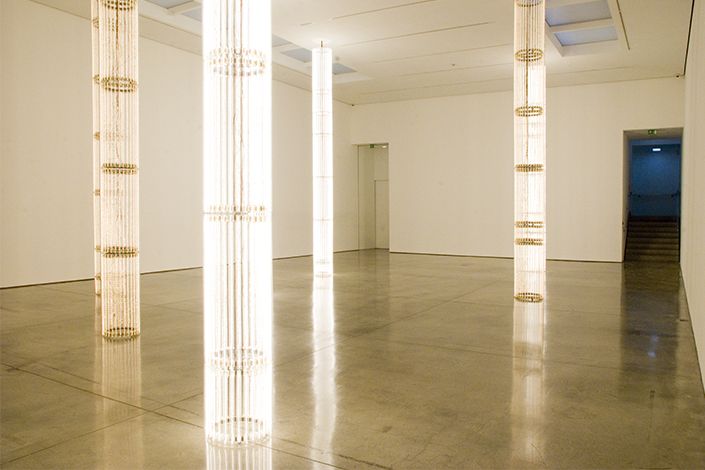 Cerith Wyn Evans S=U=P=E=R=S=T=R=U=C=T=U=R=E ('Trace me back to some loud, shallow, chill, underlying motive's overspill…'), 2010 Installation view, White Cube, London, 2010 © Cerith Wyn Evans, courtesy White Cube Photo: Todd-White Art Photography