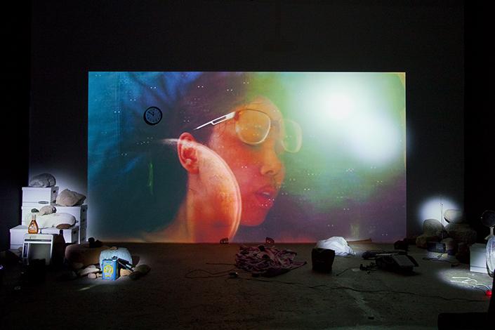 Trisha Baga Mollusca & The Pelvic Floor, 2018 Veduta dell'installazione, Greene Naftali, New York, 2018 Courtesy l'artista e Greene Naftali, New York Foto: Martha Fleming-Ives