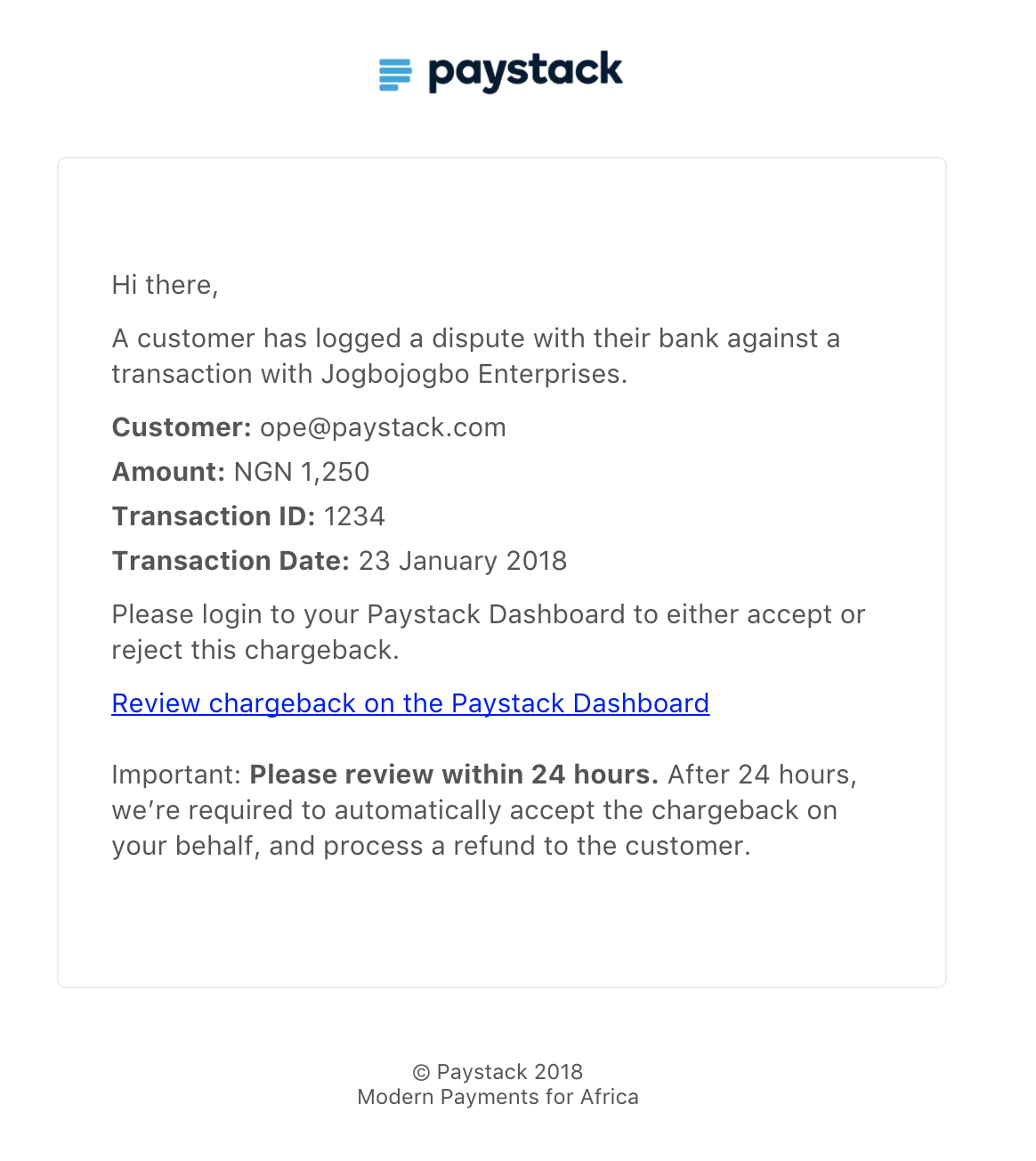 Chargeback email