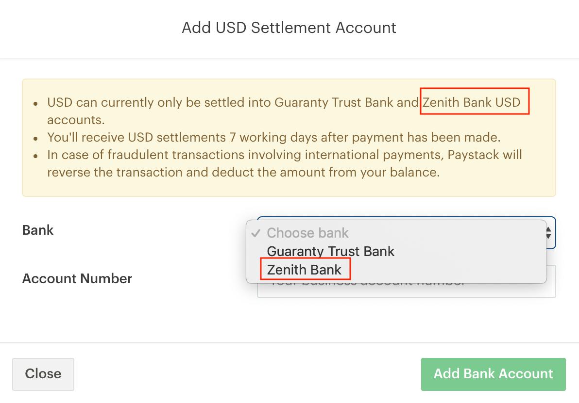 USD settlement