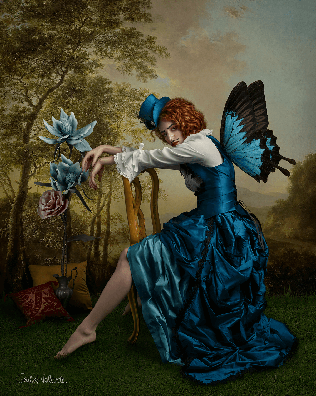 Custom top hats, masks, crowns, and butterfly wings. Paintings as backdrops. Discover fine art photography with Giulia Valente