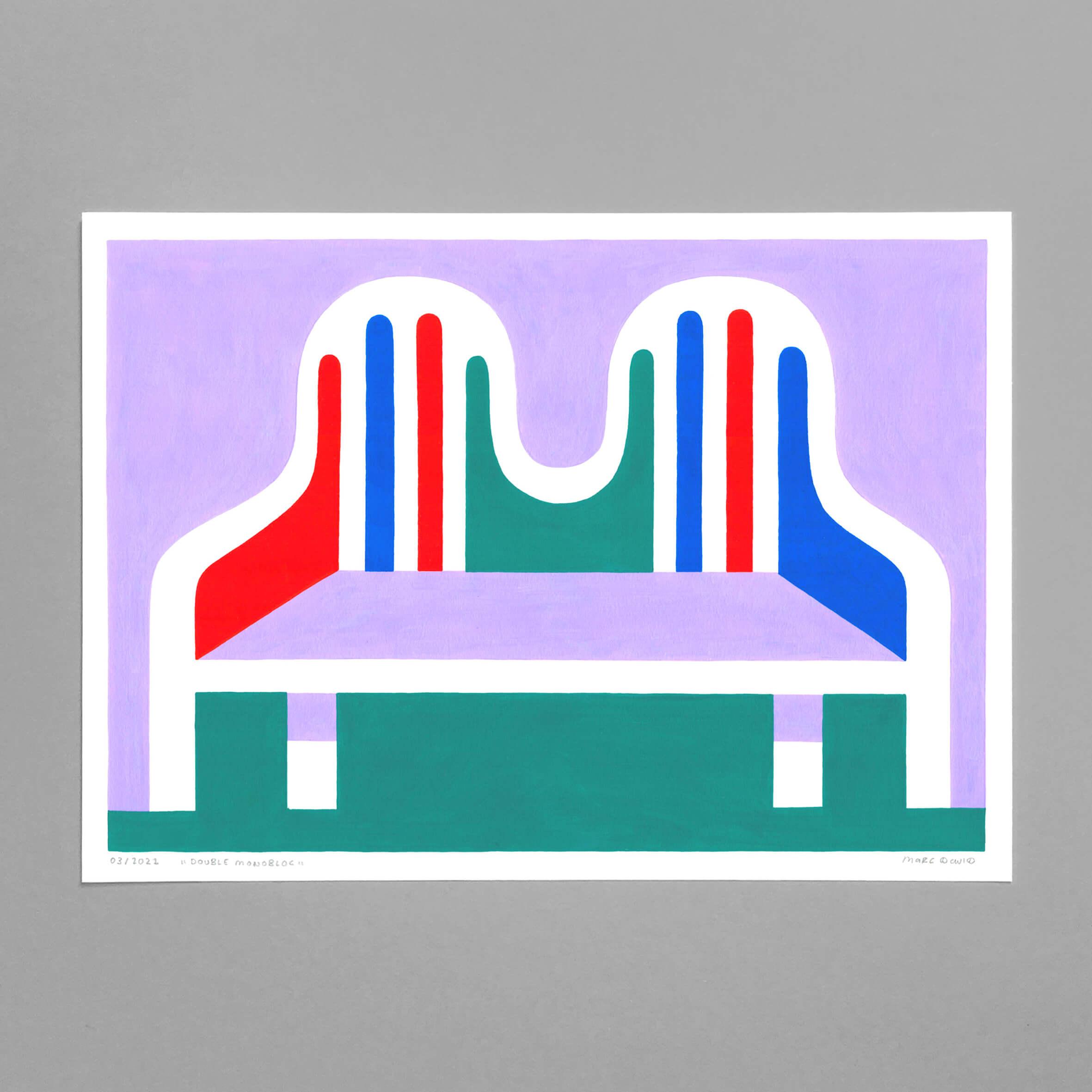Double Monobloc, Acrylics on Paper, bold designs