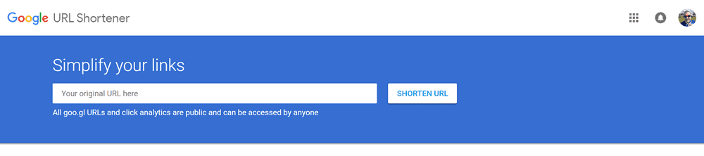 screenshot of google url shortner
