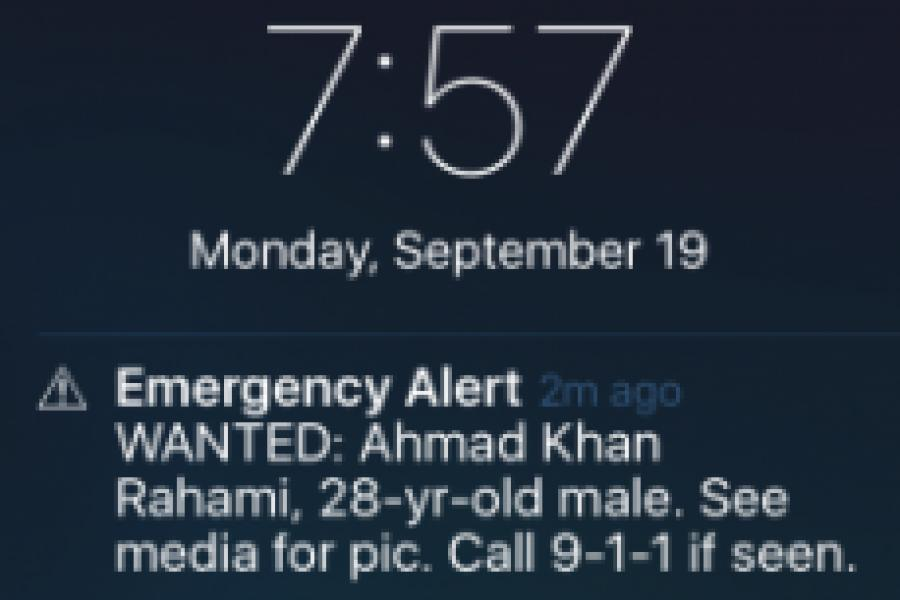 NY Times: Cellphone Alerts Used in New York to Search for Bombing Suspect