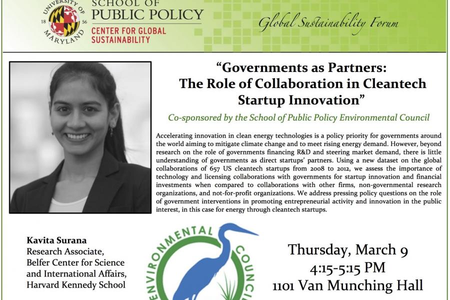 March 9: Governments as Partners: The Role of Collaboration in Cleantech Startup Innovation