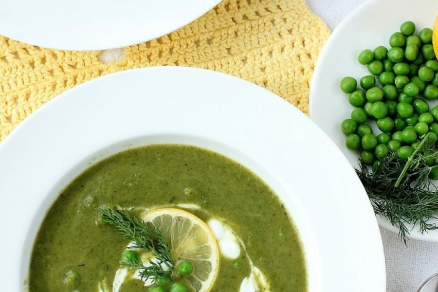 Green Soup with Leeks, Leafy Greens, & Peas | Kitchen Frau