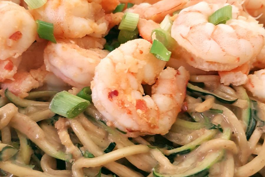 Peanut Zoodle Salad + Chili Garlic Shrimp - Mouth Half Full