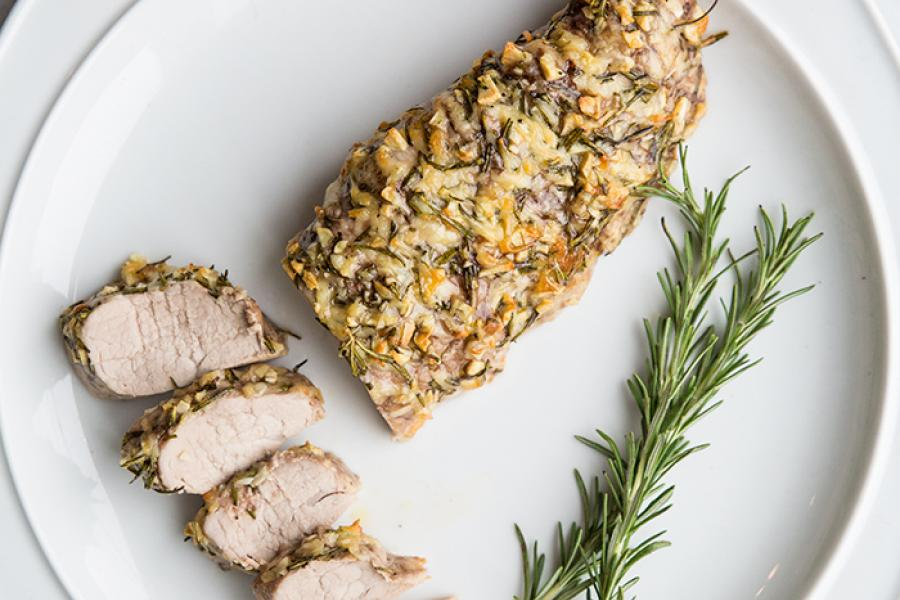 Rosemary Garlic Parmesan Pork Tenderloin - The Kitchen Magpie