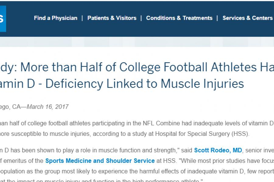 Study: More than Half of College Football Athletes Have Vitamin D Deficiency Linked to Muscle Injuries