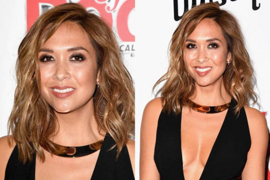 Taking the plunge: Myleene stuns as cleavage erupts