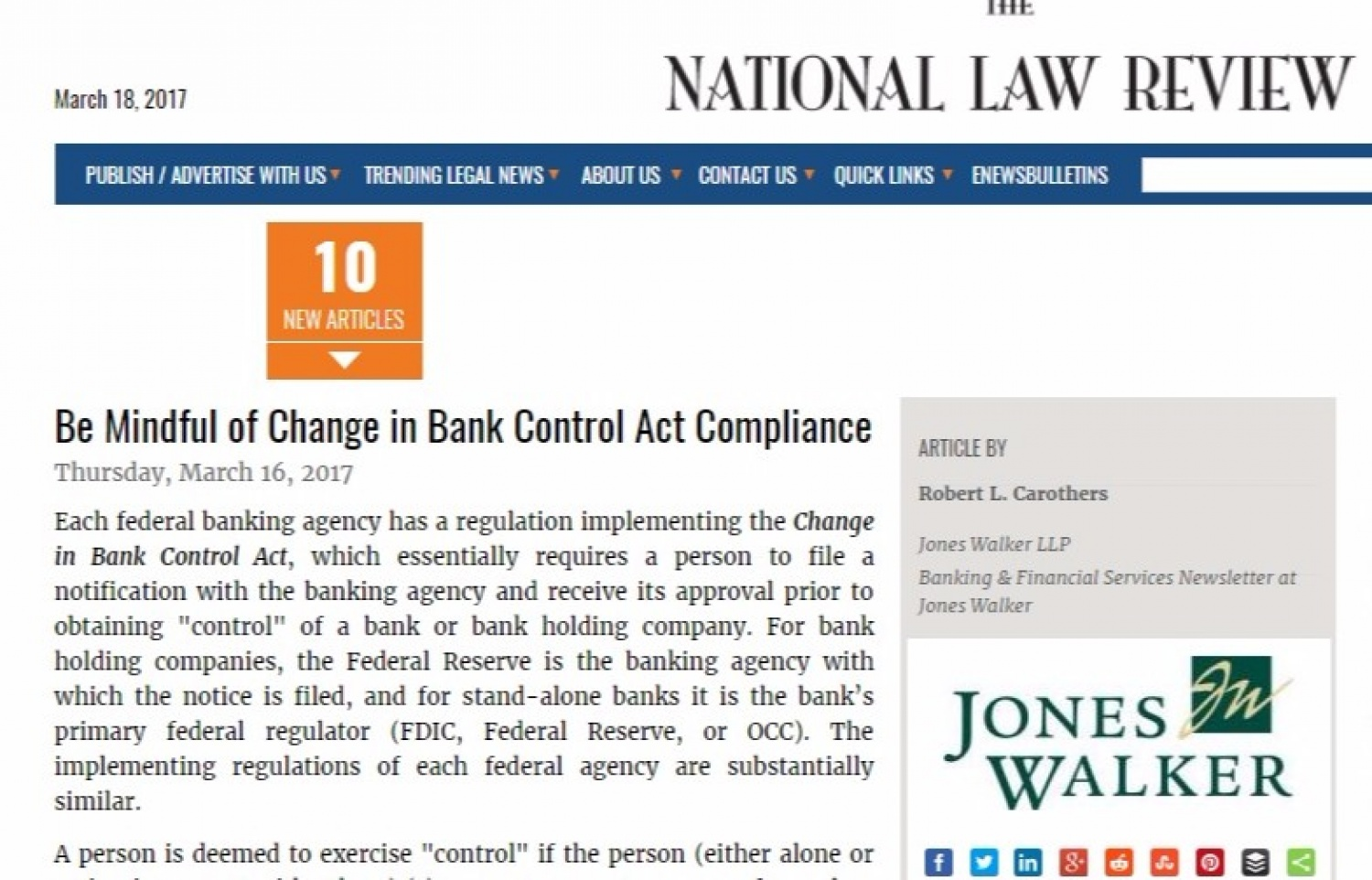 Be Mindful of Change in Bank Control Act Compliance