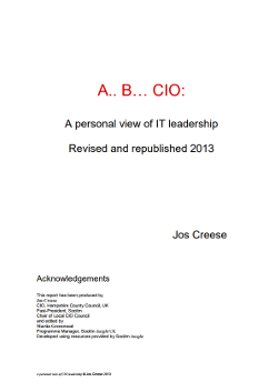 Publication: A.. B… CIO: A personal view of IT leadership