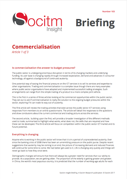 Front cover for Briefing 103 - Commercialisation