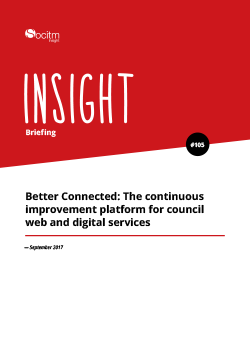 Briefing 105 - Better Connected: The continuous improvement platform for council web and digital services