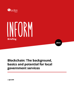 Briefing 111 - Blockchain: the background, basics and potential for local government services