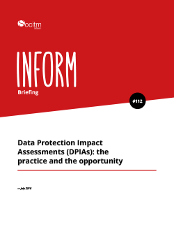 Front cover for Briefing 112 - Data Protection Impact Assessments (DPIAs): the practice and the opportunity