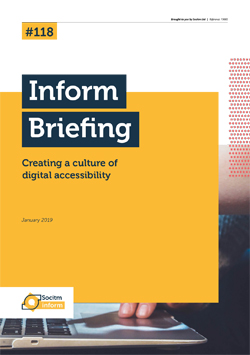 Front cover for Briefing 118: Creating a culture of digital accessibility