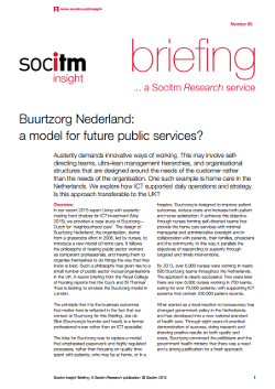 Publication: Briefing 80 - Buurtzorg Nederland a model for future public services