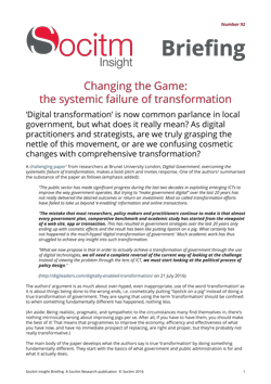 Briefing 92: Changing the Game - the systemic failure of transformation